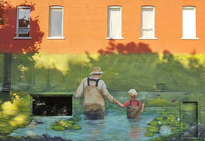 Downtown Grand Forks Mural Fishing